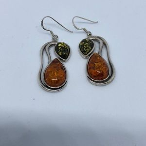 Silver 925 earrings with amber, new